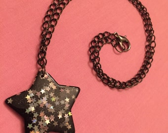 Shining Star Necklace in Midnight Black, Cute, Kawaii, Pastel Goth, Fairy Kei