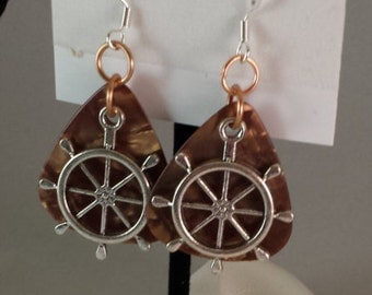 Silver Ships Wheel on Brown Guitar Pick Earrings