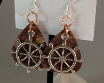 Silver Ships Wheel on Brown Guitar Pick Earrings EAR3
