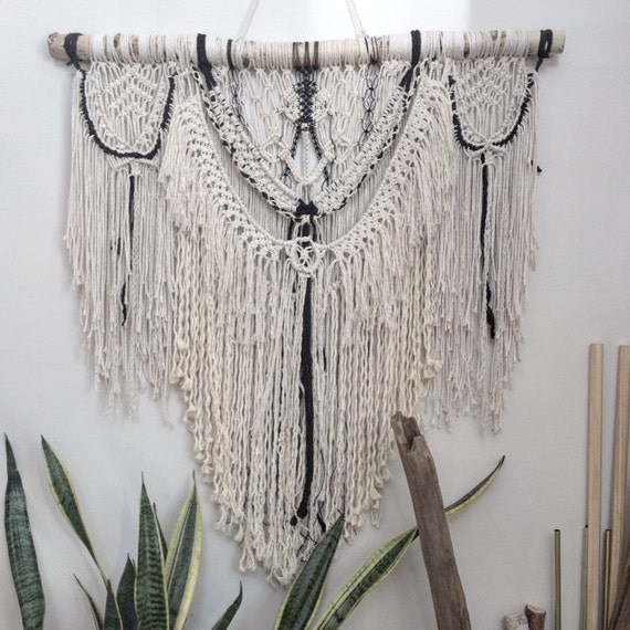 items similar to white and black macrame wall hanging monochrome macrame boho decor upcycled. Black Bedroom Furniture Sets. Home Design Ideas