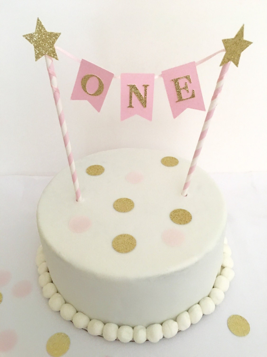 1st Birthday Cake Topper Pink and Gold by SweetEscapesbyDebbie