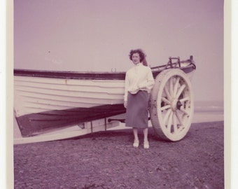 Young lady with old life-boat- original 60s vintage colour picture- seaside snapshot- paper ephemera