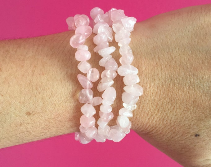 Gifts for Employees, 3 Rose Quartz Bracelets, Healing Jewelry Perfect Gift for Mom