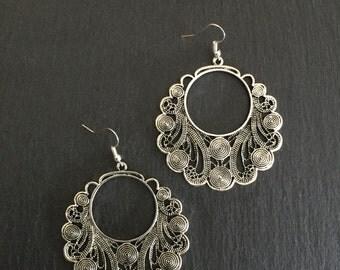 Large vintage style silver earrings, Tribal, Boho, Bohemian, Ethnic, Gypsy, Festival, Hypoallergenic surgical steel hooks