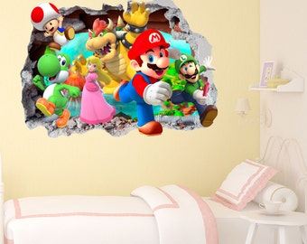 Mario Gang Smashed Wall Sticker In Wall Crack Kids Boys Girls Bedroom Vinyl  Decal Art Sticker