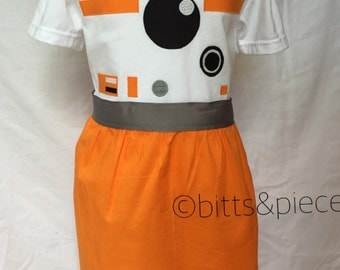 BB-8 inspired Comfy T-Shirt Dress, sizes 2 and 3 (ages 2-3 and 3-4)