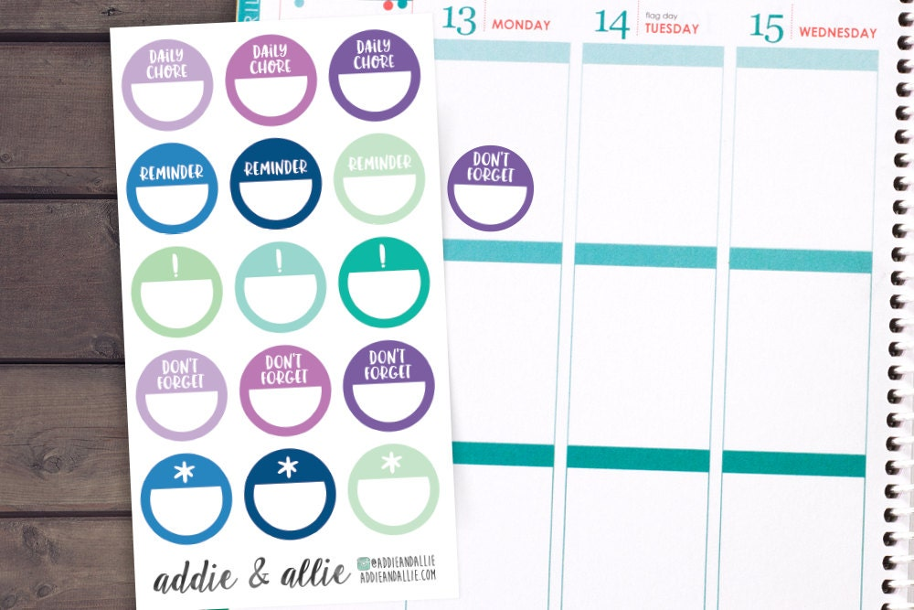 Calendar Planner Reminder Stickers : Reminder stickers planner by addieandallie