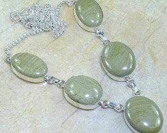 "Green Jasper Necklace 19 1/2"""
