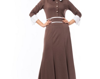 Knitted beige formal dress, flared dress , Classic dress for a business woman.Autumn-winter dress.