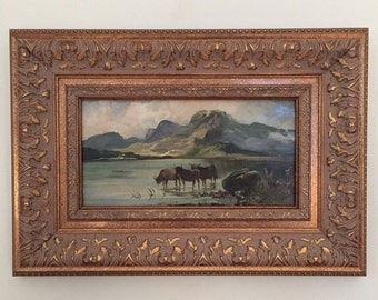 Mountain Landscape with Cows Original Oil Painting Framed