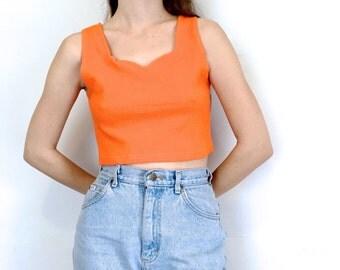 SALE 90s Bright Orange Sleeveless Crop Top