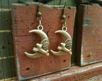 Moon and rabbit earrings, moon earrings, rabbit earrings, bronze, animal earrings, animal jewelry