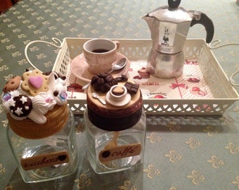 Pair of jars for Sugar and Coffee / Breakfast with Sympathy / jars with decorations 3D / Miniature biscuits and coffee cup