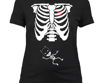 Maternity Halloween Shirt Pregnant Skeleton T Shirt Pregnancy Reveal Baby Announcement Baby Shower Gift Expectant Mother Ladies Tee - SA394