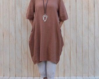 Ladies Lagenlook Quirky Quality Linen Tunic  Dress Long Top UK14 16 18 20 22 24 26 - Rust W47