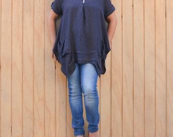 Lagenlook Plus Size UK 16 18 20 22 24 26  1X 2X 3X   Tunic Top Linen Quirky Black Beige White Navy Blue Green Grey 8942