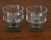 Vintage Set of 2 Federal Nordic Midnight Footed Glass Dessert Glasses