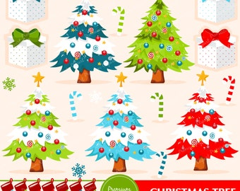 Christmas tree clipart, Christmas clipart, Christmas stocking clipart, commercial use - CA289