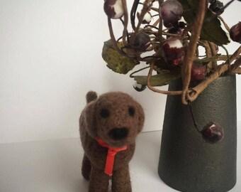 Brown Dog , Needlefelted Animal , 8x6 cm ,  Needlefelted Dog , Dog Soft Sculpture , Brown Dog Soft , Cute Dog