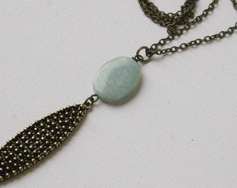 Long Light Mint Semi- Precious Stone and Antique Brass Chain Necklace