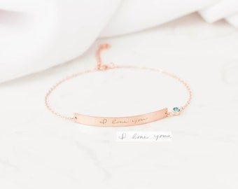 Custom Handwriting Bracelet - Actual Handwriting Jewelry - Memorial Engraved Bar Signature Bracelet - Handwriting Jewelry - Mothers Day Gift