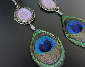 Earrings Peacock feather / Peacock feathers earrings
