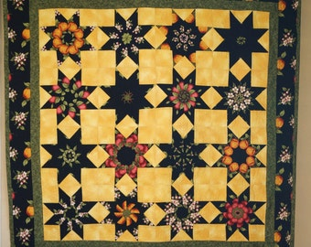 Star Quilt - Stack N Whack - Fruit and Blossoms -star quilt, throw quilt, patchwork, handmade, ready to ship