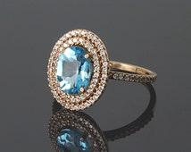 Halo ring, Topaz ring, Blue topaz ring, Oval cut ring, Topaz gold ring, Gemstone ring, Halo gold ring, December birthstone