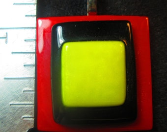 Red Black Yellow Fused Glass Pendant