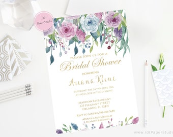 Gold Blue Purple Bridal Shower, Floral Bridal Shower, Bridal Shower Invite, Custom Invitation, Printable Invite, Ref. BR0022