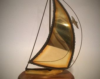 Vintage 1970's Signed DeMott Brass Sailboat Sculpture With Birds Mounted on Sanded Wood