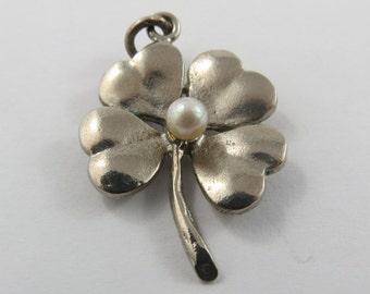 Four Leaf Clover Vintage Sterling Silver Charm.