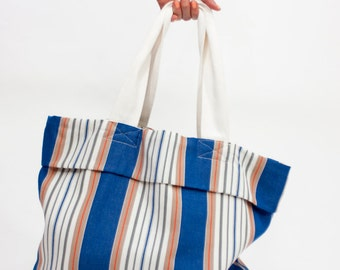 Beach bag, big multicolor bag in striped cotton canvas