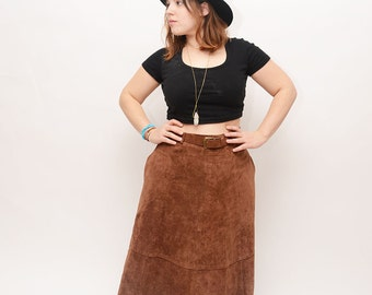 High Waisted Suede Skirt -  Victoria Leather, Vintage, Maxi, Curvy, Leather, Brown, Belt, Size 12