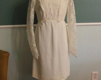 1960's Mini Wedding Dress with Train