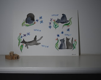 Watercolour cats that think they are kittens. Original.