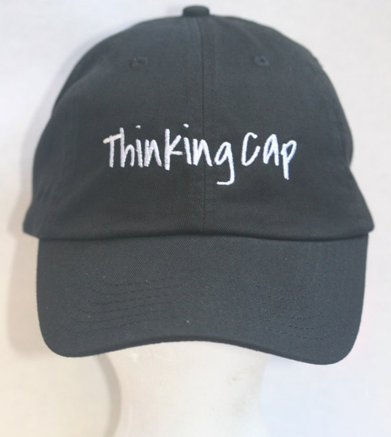 Thinking Cap - Polo Style Ball Cap (Black with White Stitching)