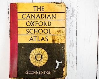 Vintage 1963 Canadian Oxford School Atlas Second Edition - Vintage World Atlas - Maps - Retro Atlas Geographical Maps - Vintage School Book