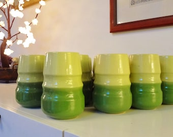 15 Tamac Pottery Tumblers-Perry, OK -Mid Century Pottery-Collectible Pottery-Tamac Cups -Green -Avocado-Mid Century Ceramics-collectible