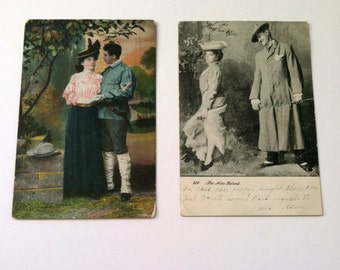 Vintage 1900's Post Cards, Romance, Love, Loving Couples, Set of 2