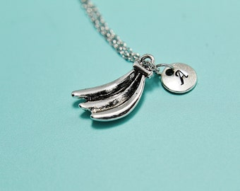 Personalized Banana Pendant Charm Necklace, Banana Pendants, Fruit Jewelry, Food Jewelry, Initial Necklace, Long Pendant Necklace,