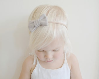 Newborn Headband - Gray Mini Bow Headband - Baby Headband