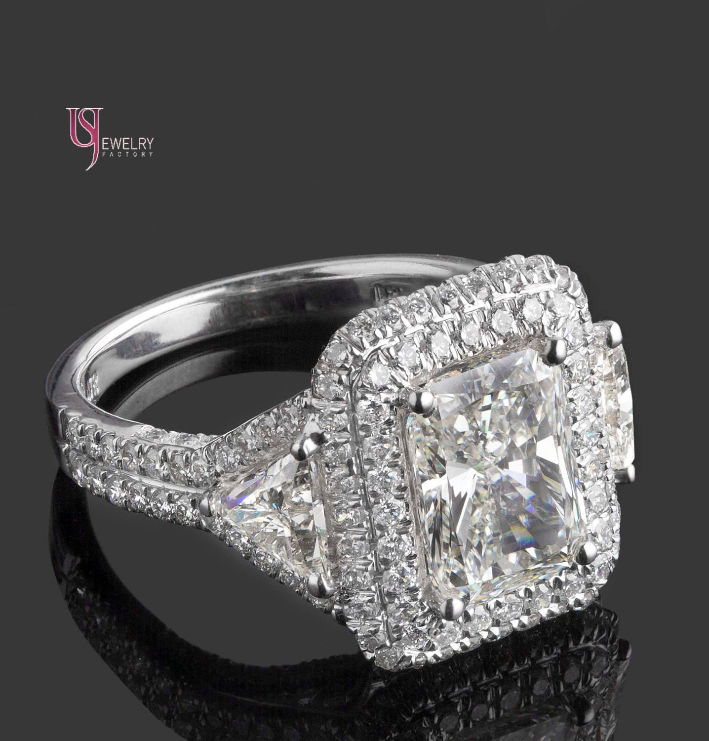 4.90 TCW Radiant Cut Diamond Engagement Ring With Trillion