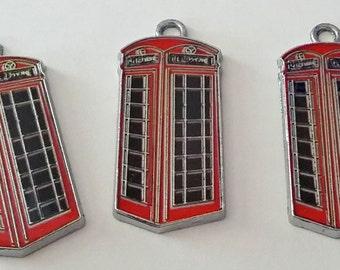 3 Red and Black Enamel Telephone Police Box | British Police Box | 2071
