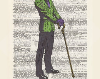 DC comics The Riddler on dictionary page print