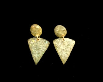 Pale Green Wedge Earrings with Gold Accents  - Vintage 1970 - Acrylic - Rough Granite Type Texture - Clip on Earrings - Casual or Dress Up