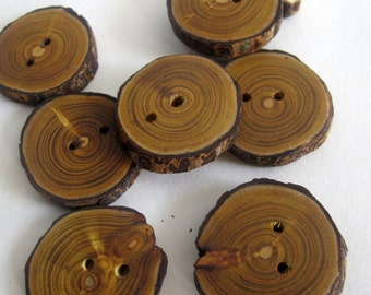 Set of 8 Wooden Buttons, Natural Wood Round Buttons, Rustic Wooden Buttons, Eco friendly Accessories