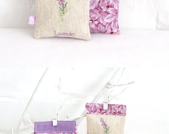 Lavender Sachets Embroider Lavender Scented Drawer Sachets Gift for her Eco friendly Organic Lavender Scented Bags