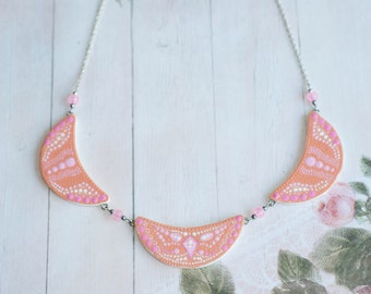 Rose necklace, Pink necklace, Pink statement necklace, Pink bib necklace, Rose statement necklace, Rose bib necklace, Red pink necklace