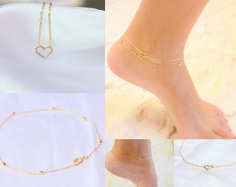 Layered Anklets - Tiny heart Anklet Delicate dainry Double chain ankle bracelet thin gold anklet bridesmaid gift summer beach
